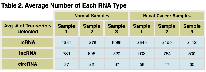 RNA type table